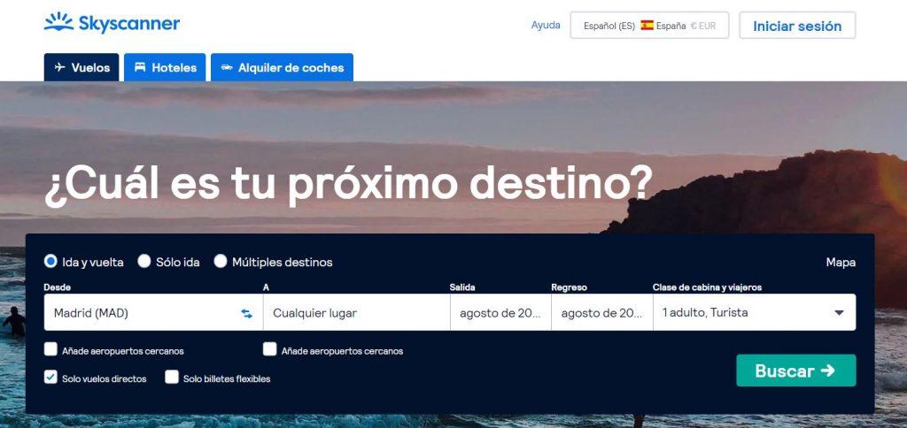 skyscanner buscador de vuelos sin destino y sin fecha