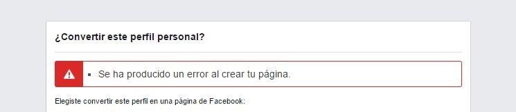 Se ha producido un error al crear tu página Facebook