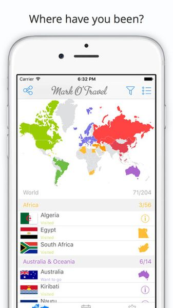 mark otravel mapa paises visitados