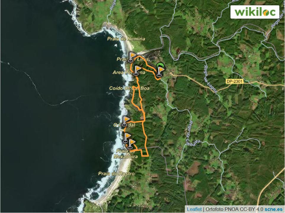 ruta de senderismo por la costa da morte