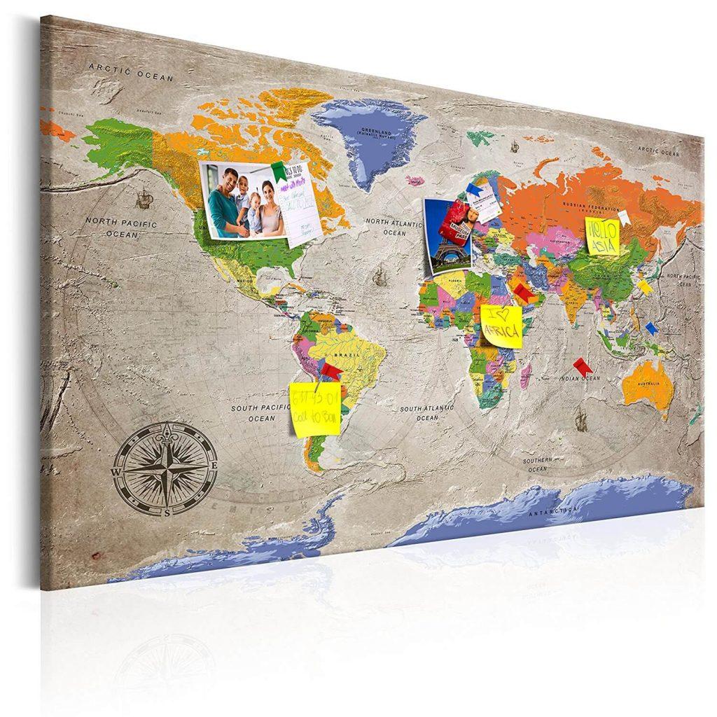 mapa de chinchetas decorativo